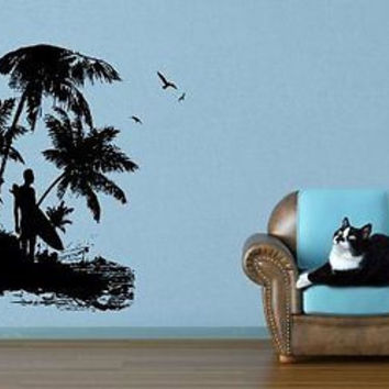 Surfer Surfing Beach House Sea Ocean Beach Palm Sunshine Wall Decor ar1204