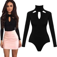 Bodysuit Jumpsuits Short Rompers Playsuit Stand Collar Long Sleeve Tops