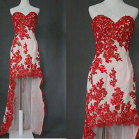 Modern 2014 new arrival asymmetrical strapless red lace appliques Prom dresses,Formal evening dresses,affordable formal dress,prom gowns
