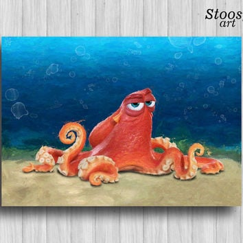 hank the octopus finding dory print pixar art finding dory party disney decor