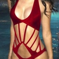 Dark Red Sleeveless Deep V Neck Cut Out Halter Monokini Swimsuit
