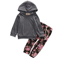 2Pcs Newborn Infant Baby Girl Clothes Hoodie Tops+Floral Pants Leggings Outfits