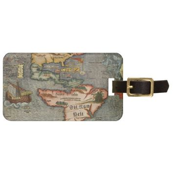 Munster's Old Worldly Map of America Luggage Tag