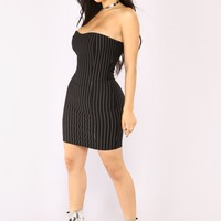 Abrey Stripe Dress - Black/White