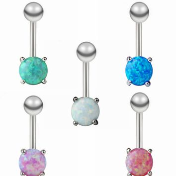 Opal Gold Belly Button Ring Synthetic Opal Belly Rings in 5 Colors