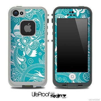 Turquoise Floral Pattern Skin for the iPhone 5 or 4/4s LifeProof Case
