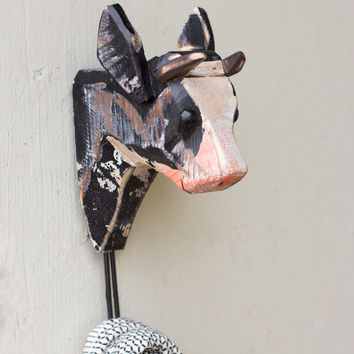 Wooden Cow Head with Hook