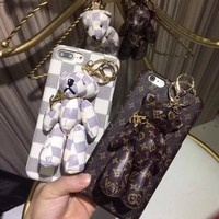 Louis Vuitton Bear PU Mobile Phone Shell iPhone Phone Cover Case For iphone 8 8plus iPhone6 6s 6plus 6s-plus iPhone 7 7plus One-