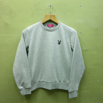 Vintage Playboy Bunny Sweatshirt Big Logo Crewneck Pullover Sweater Streetwear Grey Color Size M