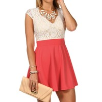 Sale Lace Mini Skater Dress