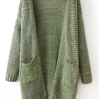 Green Long Sleeve Pockets Knit Coat