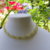 Dainty double strand peridot necklace Semi precious jewelry Sweet 16 necklace Short natural stone choker Green ivory OOAK unique jewelry