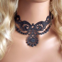 Charcoal grey lace choker necklace | StitchesFromTheHeart - Jewelry on ArtFire