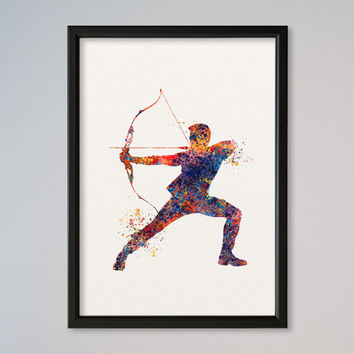 Hawkeye Poster Watercolor Print Marvel Comics The Avengers Assemble Special Agent of S.H.I.E.L.D.
