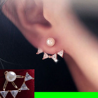 Pearl And Bow Wrapping Ear Cuff