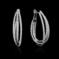 3.88ct Diamond 18k White Gold Hoop Earrings