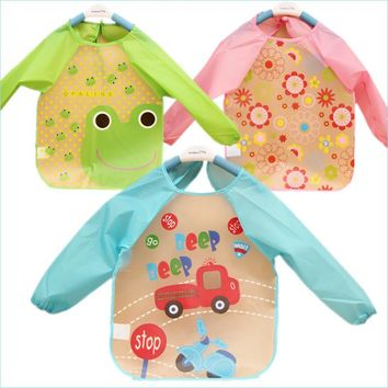 Cartoon Colorful Baby Bibs Long Sleeve Art Apron Animal Smock baby Bib Burp Clothes Soft Feeding Eat Toddle Waterproof YYT329