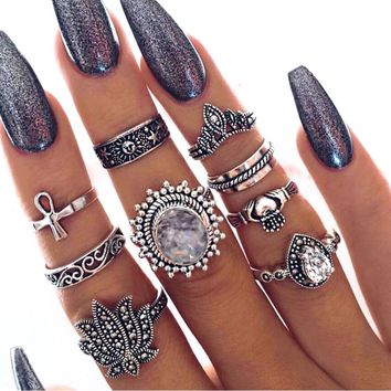 RAVIMOUR 9pcs Punk Flower Finger Ring Set Women Fashion Zirconia Statement Knuckle Ring Vintage Silver Color Boho Female Jewelry