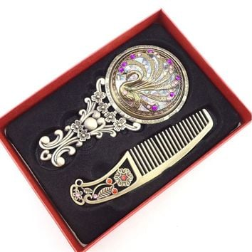 And Wonderful Openwork Cosmetic Gift Mirrors Set Handheld Bronze Compact Mirror Hollow Comb