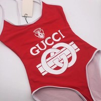Gucci One Piece Bikini Women Print Backless Cross Vest Tan Top Swim B104485-1 Blue