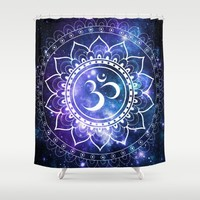 Om Mandala: Violet & Teal Galaxy Shower Curtain by 2sweet4words Designs