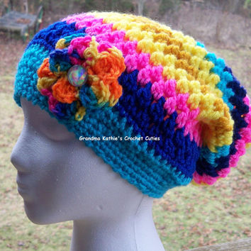 Ladies Crochet Slouch Hat You Pick Color Combo