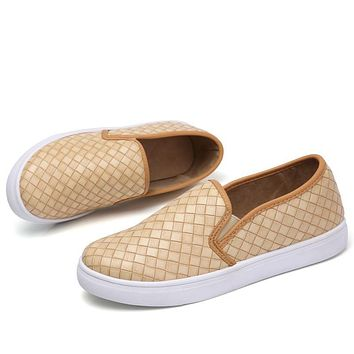 WeiDeng Women Casual Weave PU Leather Loafers Breathable Flat Fashion Platform Sandals Slip on Ankle Simple Style Shoes