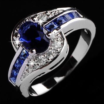Blue Sapphire Women 925 sterling silver Men Engagement Rings Jewelry Size 7.8.9 10