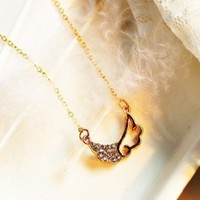 Qiyun Sweet Angel Wings Of Love Diamante Necklace