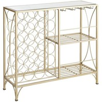 Hilo Mirrored Top Wine Console - Champagne