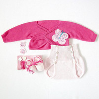 A knitted cachecoeur with diaper cover in pink with by tenderblue