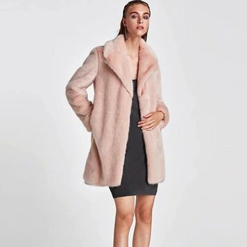 Women Winter Faux Fur Coats Jackets Pink Fur Coat Jackets Women Thicken Warm Fake Fur Outerwear Solid Colors S-6XL Sizes#2