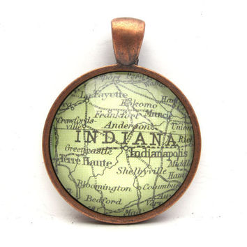 Vintage Map Pendant of Indiana in Glass Tile by CarpeDiemHandmade