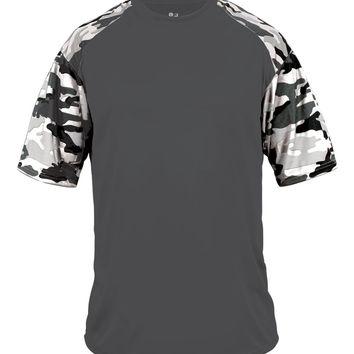Badger 2141 Camo Sport Youth Tee - Graphite White Camo