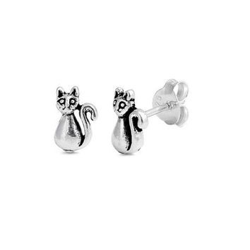 Sterling Silver 7mm Tiny Cat Stud Earrings