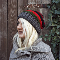 Hand Knit- Striped- Slouchy Hat