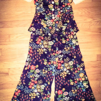Vintage 1970's ILGWU JcPenney Brady Bunch Purple Floral Patterned Matching Top & Bell Bottom Pants Size 5 Petite