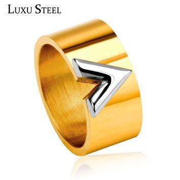 Unique Style Gold Color V Rings Titanium Steel High Polished Engagement Rings For Women Men