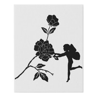 Flower Rose Garden Fairy Silhouette Art Faux Canvas Print