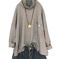 Women's Cotton Blouses Tops T-Shirt Long Sleeve High Collar Casual Loose Fitting