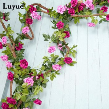 Luyue Creative 2.4m Artificial Double Color Flower Vines Wedding Party Decor Simulation Fake Flower Rattan Home Garland Hanging