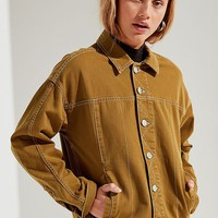UO Olive Contrast Stitch Trucker Jacket | Urban Outfitters