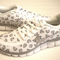 SALE!! Cheetah Nike Free Run 5.0 V4 Print Shoes - White / Wolf Grey / Pure Platinum - Bedazzled with 100% Authentic Crystals from Swarovski