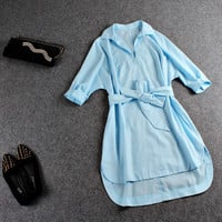 Light Blue Sleeve V-Neck Tie-Waist Asymmetrical Dress