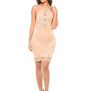 Pink Spaghetti Strap Cut-Out Gold Embroidered Lace Dress