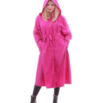 Magenta Pink Nylon Coat Long Lightweight Windbreaker Raincoat Hooded 80s 90s Vintage Clothing Womens Size Large XL