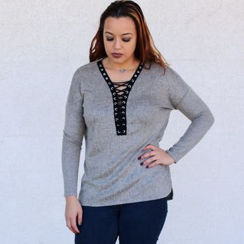 Gray Lace Up Long Sleeve Top