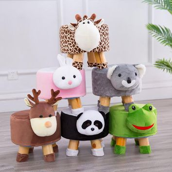 Children Stool Cartoon Solid Wood Animal Small Stool Household Baby Lovely Lint Shoes Stool Low Stool Originality The Bench