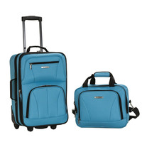 Rockland Rio Carry-On 2 Piece Luggage Set Turquoise Blue Soft Tolietries Bag