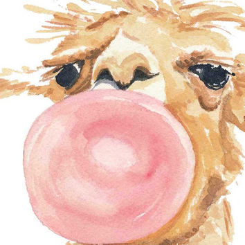 Llama Watercolor PRINT - Bubble Gum, Nursery Art, Llama Painting, 11x14 print